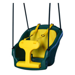 "Backyard Discovery - 2-in-1 Convertible Safe T-Swing Toy - Features: -Toy. -Construction of plastic, nylon. -Used for infant or toddler. -Leg support for infant folds under seat cushion for toddlers. -Smooth ropes are strong and durable. -Contoured bucket seat. -Padded seat cushion. -Sturdy, soft ropes. -One year warranty. -Infant configuration has safety t - bar and nylon safety straps. -Smooth rounded edges for comfort. -18"" H x 18"" W x 18"" D, 110 lbs."