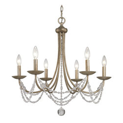 Golden Lighting - Mirella Six-Light Bronze Chandelier - - Graceful sweeps are draped with crystal-clear glass beads  - Sheer, hand-wrapped Pearl Chiffon shades add elegance  - Golden Aura finish layers soft gold over silver undertones  - Shades are optional on chandeliers  - Comfortably sized for a typical dining room  - Includes metal candlesticks, Pearl Chiffon Shade  - 3 pack  - Bathroom light fixtures feature Opal glass, providing a pure white light  - A chandelier creates a stylish focal point  - 5.5 Inch Diameter canopy included  - 6 Feet of chain and 10 Feet of wire are included. Golden Lighting - 7644-6 GA