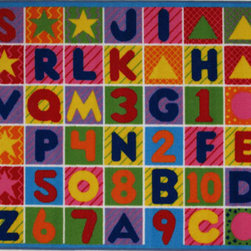 L.A. Rug - Numbers & Letters Rectangular: 1 Ft. 10 In. x 2 Ft. 11 In. Rug - Your child?s room is a natural extension of them. Add these innovative designs from Fun Rugs as a finishing touch to spruce up your child?s decor.  Offering a vivid and eye appealing array of colors that will stimulate the mind and imagination of children of all ages.  You will be able to count the compliments of this high quality rug. Made from 100% nylon, fire retardant and easy to clean.  These rugs are durable enough for the roughest and toughest of children. L.A. Rug - FT-2011-P 2235