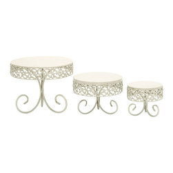 Benzara - For Stylish Parties Decorative Cake Stand Set - This white iron alloy tray is the perfect backdrop to let your cake stand and steal the show. Bring Victorian era charm to your event that looks like it's seen many wonderful parties. And the sturdy base will keep it balanced no matter how the cake is cut, though it is not likely to last long with this decorative tray drawing all your guests attention.