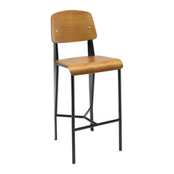 Modway - Cabin Counter Stool EEI-1063 - Walnut Black - Submerge your land-bound activities into a cascading piece fit for your transitional seating needs. The Cabin modern counter stool combines a molded bentwood back and waterfall seat, with a fluid form that imbues both an airy and streamlined feel. Cabin's powder coated metal frame is solidly constructed to service your needs time and again from light refreshments, through extended dialogues.