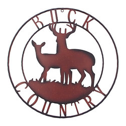 De Leon Collections - 'Buck Country' Wall Sign - Decorate the home with a woody outdoor vibe with the help of this rustic wall sign. �� 24'' diameter Wrought iron Imported