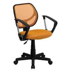Flash Furniture - Mid-back Orange Mesh Task Chair and Computer Chair with Arms - This ventilated mesh computer chair will give you the comfort you desire throughout the day. If you are looking for a sleek/ functional chair for your work or home office/ a mesh office chair may be right for you. Chair features a breathable mesh back with a comfortably padded mesh seat that easily adjusts.