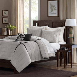 Home Essence Lancaster 4-Piece Comforter Set, Gray - I like this one because of the texture in the striped stitching, as well as the black and white stripe.