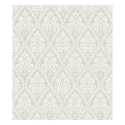 Kenneth James - Liesel Silver Damask Wallpaper - Elegant and delicate, this pattern adds formal but not fussy flair. In silver and white, it will open up your room while making the ideal backdrop for your distinctive decor.