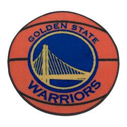 Fanmats - NBA Golden State Warriors Rug Basketball Shaped Mat - FEATURES: