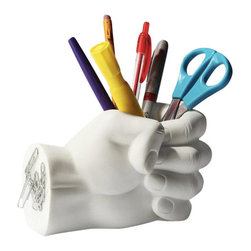 Inova Team -Modern White Plastic Fist Pen Holder - The Fist Pen Holder features a magnetic back and will help you keep your workspace free of clutter.
