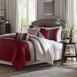 """Madison Park - Tradewinds 6 Piece Duvet Set in Red - A modern twist to a classic color block bed. Tradewinds is made from a faux silk texture with pleating details to give it an update to a classic look. Features colors of crimson red, tan and brown. Features: -Available in Full / Queen or King sizes. -Material: 100% Polyester. -Color: Red. -Pieced dupioni with filled piping details. -Modern twist to a classic color block bed. -Made from a faux silk texture with pleating details to give it an update to a classic look. -Features colors of crimson red, tan and brown. -Dimensions: 90""""-104"""" Height x 90""""-92"""" Width."""