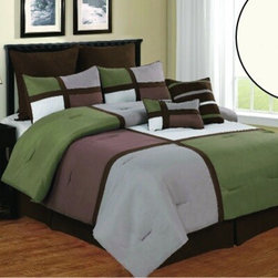 Bed In A Bag - 12pc Luxury Bed in a Bag- Deco Sage/ Brown/ White-Queen - This comforter combines a casual look with pure comfort. Please select sheet color when ordering. The comforter and pillow shams feature and color blocking design along with pin tucking details for added dimension. If you want to give your room a relaxing feel, this comforter is the set for you. 100% Polyester,  Machine Washable