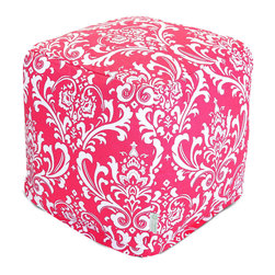 Majestic Home - Indoor Hot Pink and White French Quarter Small Cube - If you think a beanbag is a relic from the '70s, think again. It's been re-envisioned for your favorite modern setting as a cube, so versatile you can use it as a seat, footstool or side table.