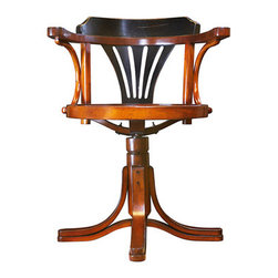"""Black & Honey Purser's Chair - The black  honey purser's chair measures 21.75 x 24 x 31"""". Striking, yet unassuming, our Purser's Chair is the answer to many requests for a desk chair to match our collection of desks. The classic design goes back to utilitarian furniture from the Belle Epoque. Handmade in cherry and maple, this chair will survive the ages when treated with respect. Wrought iron hardware. Lightweight, yet sturdy construction. Comfortable and solid, turns every direction."""