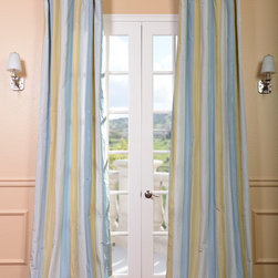 Catalina Faux Silk Taffeta Stripe Curtain - The Faux Silk Taffeta Stripe drapes & curtains can be a bold or subtle statement to any room depending on your color choice. Whether you want to create a dramatic statement or just to enhance your current décor a stripe is always a nice way to go. Be bold and go with a multi color stripe. Or just update an space with a 2 color stripe.