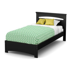 South Shore - 79 in. Twin Bed in Black - Includes: Twin headboard, footboard and 39 in. bed frame. Mattress and accessories not included. Laminated particle boards. Economic choice since it does not require the use of a box spring. Decorative grooves on the panel at the end of the bed to resemble legs. Weight capacity: 250 lbs.. Warranty: Five years limited. Made in Canada. Assembly required. 79 in. L x 44 in. W x 36.25 in. H (108 lbs.). Assembly Instructions. Safety is an integrated part of our values: this product meets or exceeds all North American safety standards.