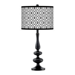 """Giclee Gallery - Contemporary Black Diamonds Giclee Paley Black Table Lamp - Glossy black finish. Giclee print drum shade. Maximum 150 watt or equivalent bulb (not included). 29"""" high. Shade is 13 1/2"""" wide and 10"""" high. 18"""" shade to base clearance.   Glossy black finish.  Giclee print drum shade.  Maximum 150 watt or equivalent bulb (not included).  29"""" high.  Shade is 13 1/2"""" wide and 10"""" high.  18"""" shade to base clearance."""
