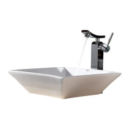 Kraus - Kraus White Square Ceramic Sink and Unicus Faucet Chrome - *Add a touch of elegance to your bathroom with a ceramic sink combo from Kraus