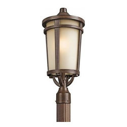 Kichler 1-Light Outdoor Fixture - Brown Stone Exterior - One Light Outdoor Fixture. The simple transitional style of this 1 light fluorescent post light from the Atwood family is perfect for today`s traditional architecture. The subtle tone of the brownstone finish and light umber seedy glass coordinate beautifully. Everything about this tapered round lantern from its cast aluminum rings to its stepped canopy make it an ideal complement to your home. Width: 10 inches, height: 22. 5 inches. Uses 1 18 w bulb. Rated for wet locations. Meets energy star, dark sky, and title 24 requirements. Bulb included.