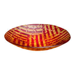 Art Glass Design Studio - Desert Sunrise Art Glass Bowl - Fused and slumped glass tray in blues and oranges. Sheets of art glass are created and fired, then cut and assembled. Sandblasted to create a satin finish. Size and color may very slightly. Varda uses glass much like a quilter uses fabric; creating a glass canvas from bits and pieces of glass, that is fired, cut and used again in a new design, using layers of color and texture to create depth in a piece of art.