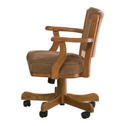 Adarn Inc - Casual Oak Mitchell Upholstered Arm Game Chair With Casters, Oak - With complete relaxation, enjoy a casual meal or friendly game of poker with this game chair. The upholstered cushioned seat and padded seat back add to comfort, while the subtle curves of the wooden arms and frame contribute to relaxed style. For easy and convenient mobility, this arm chair is equipped with wheel casters. Pair with a matching game table for a complete ensemble.