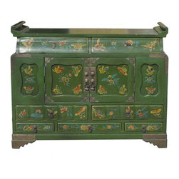 Golden Lotus - Chinese Green Lacquer Butterflies Altar Chest - This is a nicely made Fujian style butterflies cabinet with green base color and metal hardware around the edge.