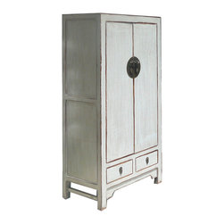 Golden Lotus - Chinese Gray Moon Face Storage Cabinet Armoire Cabinet - Look at this Chinese gray moon face cabinet which is made of solid elm wood.  It can be also used as armoire.  It is an antique cabinet, new painting finished.