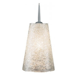 """Bruck Lighting - Bling II 120 Pendant Light MP w White Textured Glass (Chrome) - Finish: Chrome. Pictured in Matte Chrome. Glass Color: White Textured Glass. Mounting: 4"""" Canopy . 120V AC input. Accommodates 40W Max G9 Lamp(Not included). Suitable for dry location only. Mount to 3 1/2"""" - 4"""" round J-box. Dimmable. Overall Dimensions: 6.8 in.H x 4.5 in.W x 4.8 in.Dia.Bling II G9 is a line voltage pendant which includes a 4"""" kiss mono-point canopy. Standard cable length of 59 inches from ceiling to top of glass, can be field-cut."""