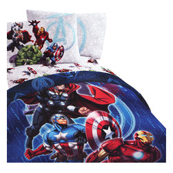 Store51 LLC - Marvel Avengers Twin Bedding Set Superheroes Suit Up Bed - Features: