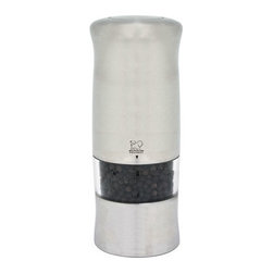Peugeot - Peugeot Zeli Electric Pepper Mill - This Peugeot Zeli Electric Pepper Mill features a brushed chrome finish and a contemporary ergonomic shape. A light bulb is mounted in the mill to illuminate the surface when the mill is in use. Pepper grind is adjusted via a thumbwheel under the mill.