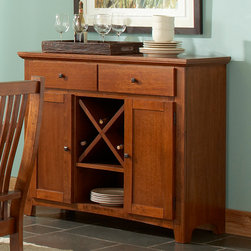 Steve Silver Furniture - Steve Silver Tulsa Server w/ Wine Storage in Oak - Lots of storage space and a warm oak finish.  Top drawers and framed side-cupboards flank a removable wine rack.