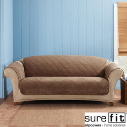 Sure Fit - Sure Fit Cocoa Reversible Quilted/Sherpa Sofa Cover - Protect your furniture from pets,sticky kids and heavy use with this attractive reversible sofa cover from SureFit. The  soft and cozy quilted fabric is cocoa-colored on one side and white on the other,so you can change up the look whenever you like.