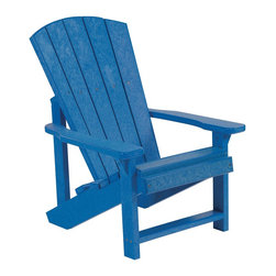 C.R. Plastic Products - C.R. Plastics Kids Adirondack Chair In Blue - Can be used for residential or commercial use, Ergonomically designed, Heavy 78 gauge plastic lumber 12 used by competitors, All stainless steel hardware, No painting, No slivers, No Rot, Completely waterproof