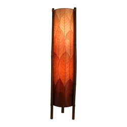 "Lamps Plus - Asian Eangee Hue Series Burgundy Cocoa Leaves Tower Floor Lamp - The striking shade of this floor lamp is made of cocoa leaves that have been put through a labor-intensive process of fossilization. The leaves are then stained in organic dyes and sealed. The wrought iron frame is powder coated and the legs are made of real bamboo which is hand-stained and bound with twine. A distinctive addition to any decor. Powder coat finish. Wrought iron frame. Fossilized cocoa leaf shade. Takes two 40 watt bulbs (not included). On-off foot switch. 11"" wide. 48"" high.  Powder coat finish.   Wrought iron frame.   Fossilized cocoa leaf shade.   Takes two 40 watt bulbs (not included).   On-off foot switch.   11"" wide.   48"" high."