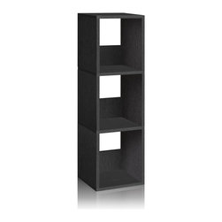 Way Basics - Way Basics Eco 3 Shelf Trio Narrow Bookcase, Black - The Trio Narrow Shelf will complement and organize any space in your home with its simplistic, modern design! It's unique tool free assembly & endless possibilities make it an essential piece for the home.