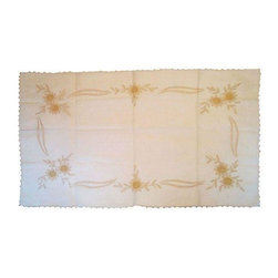 Pre-owned Handcrafted Italian Linen Runner - An Italian linen runner. The runner features handcrafted, embroidered, turned edges and cotton thread construction. This trimmed runner is made of pure linen gauze and has been fastidiously cared for. It was acquired in Milan, Italy.