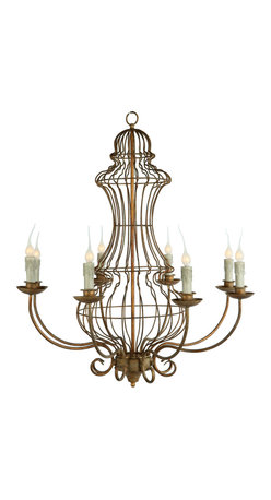 Kathy Kuo Home - Genie Urn French Country Iron Frame 8 Light Antique Gold Leaf Chandelier - Designed from our most popular garden wire shape, this gold leafed chandelier is the perfect blend of garden architecture and elegant dining.