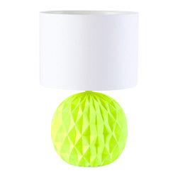 Neon Table Lamp - The neon green in the playful origami base makes this lamp so fun. And the white drum shade keeps it feeing fresh and simple, so it could call a number of spaces home.