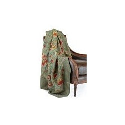 "John Richard 50""H X 60""W Throw Green Cotton Velvet - 50""H X 60""W Green Silk With Hand Embroidered Floral Motif"