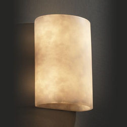 """Justice Design Group - Justice Design Group CLD-8857 ADA Small Cylinder Wall Sconce Clouds Col - Justice Design Group CLD-8857 ADA Small Cylinder Wall Sconce from the Clouds CollectionThe Clouds Collection is the perfect choice for design applications that require a clean, """"soft-contemporary"""" look. With a composition of neutral color tones, this collection will add a warm ambient glow to any decor.From an elegant lamp atop a contemporary end table to a dramatic sconce illuminating a formal entryway, Justice Design offers a wide array of lighting solutions for residential and commercial settings. Create a mood, complement a theme, or simply add the perfect accent with a Justice Design decorative lighting fixture."""