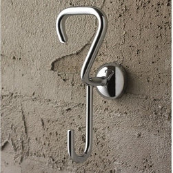 Toscanaluce - Polished Chrome Double Robe Hook - Stylish, simple design wall mounted chrome double robe or towel hook. Bathroom double hook is made out of brass with a polished chrome finish. Decorative hook easily attaches to the wall with screws. Made in Italy by Toscanaluce. Stylish, contemporary style wall mount chrome double robe or clothes hook. Bathroom hook made out of brass with a polished chrome finish. Decorative hook easily attaches to the wall with screws. From the Toscanaluce Riviera Collection.