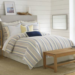 Nautica - Nautica Prospect Harbor Comforter - The Prospect Harbor bedding is the ultimate in simple luxury and clean lines thanks to its varying sized bands and stripes. The color palette of cool shades brings out its comfort and casual style.