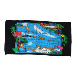 Zeckos - Islands of Paradise Caribbean Sea Beach Towel - This 100% cotton beach towel features a colorful map of the Caribbean Sea and Islands of Paradise. It measures 60 inches long, 30 inches wide, and has sewn edges to prevent fraying. This towel is the perfect practical accessory for vacations, a day at the beach, or lounging poolside. We have a limited supply, order yours today