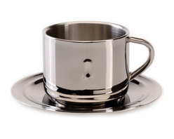 "Berghoff - Berghoff Straight Coffee Cup and Saucer - Double wall vacuum insulated coffee cup and fitted saucer. Measures 5"" saucer & 2"" cup, holds .5 cups. 18/10 Surgical stainless steel construction with mirror finish."
