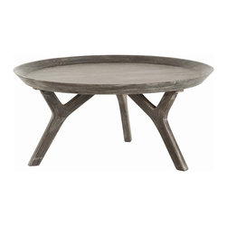 Arteriors - Emmett Cocktail Table - If you love to entertain, you'll be serving with a smile on this cocktail table. Made of parsons wood, it features a round tray-style top, angular legs and a sophisticated gray finish.