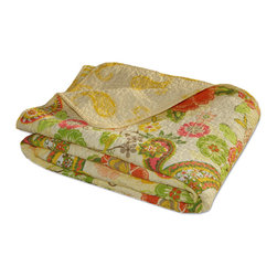 None - Sunset Paisley Quilted Throw Blanket - keep yourself warm in the cozy Sunset throw featuring a vintage inspired paisley pattern in a multicolored finish. Made of a 100-percent cotton shell and fill, this one of a kind piece is 60 inches long and 50 inches wide.
