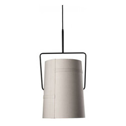 """Diesel - Diesel Fork Pendant Light - The Fork Pendant light has been designed by Diesel in 2009 and made in Italy by Foscarini. Inspired by casual fashion, the lampshade of this new lamp reminds us of informal fabrics such as tent canvas, creating a playful and dynamic lifestyle. When illuminated, the light reveals a patchwork structure and the texture of the canvas. The warm light of fork is perfect for the home and also ideal for the office.  Product Details:  The Fork Pendant light has been designed by Diesel in 2009 and made in Italy by Foscarini. Inspired by casual fashion, the lampshade of this new lamp reminds us of informal fabrics such as tent canvas, creating a playful and dynamic lifestyle. When illuminated, the light reveals a patchwork structure and the texture of the canvas. The warm light of fork is perfect for the home and also ideal for the office.  Details:      Manufacturer:     Diesel by Foscarini      Designer:    Foscarini      Made in:    Italy      Dimensions:     Grande: H:26 3/4"""" (68 cm) X D: 14 3/4"""" (37.4 cm) Overall H:200""""(508cm)  Piccola: H:16"""" (41 cm) X D: 8 1/2"""" (22 cm) Overall H:200""""(508cm)      Light bulb:     Grande:1 X 150W RSC type T3 Halogen (4 11/16cm)  Piccola:1 X 75W RSC type T3 Halogen (3 1/8cm)      Material:     Fabric and Anodized metal"""