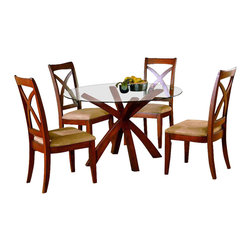 Homelegance - Star Hill 5-Piece Round Dining Set - Modern and stylish with a look that is well suited to both casual and elegant dining spaces, this five-piece glass topped dinette set will be a stylish addition to your dining decor. Enhanced by graceful X-shaped wood accents in cherry finish, the set includes a round glass topped dining table and four upholstered side chairs with graceful X-shaped backs.