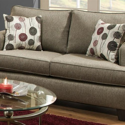 Chelsea Home - Dandelion Loveseat - Includes toss pillow. Coffee table not included. Plywood's are nailed, stapled and corner blocked. 8 gauge flat sinuous springs. 1.8 high density Dacron wrapped foam. Seat back cushion is attached. Seat cushion is reversible. PSI compression: 28 to 30 lbs.. Seating comfort: Medium. Made from 73% polypropylene, 27% polyester and solid hardwood. Luminus pewter color. Made in USA. No assembly required. Seat height: 21 in.. Seat depth: 22 in.. Seat width: 50 in.. Overall: 61.5 in. L x 41 in. W x 29 in. H (150 lbs.)