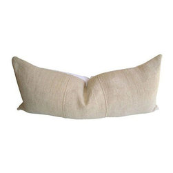 French Linen Body Pillow - An attractive pillow that will look great with rustic, modern, or traditional European style furniture. This custom body pillow features original vintage paneled handwoven natural linen from France. The reverse side is in crisp white European linen with a zipper closure . Made in California, USA