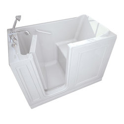 American Standard - 26 inch x 51 inch Walk-in Tub with Left Drain in White - American Standard 2651.110.SLW 26 inch x 51 inch Walk-in Tub with Left Drain in White. American Standard walk-in baths offer a patented low-entry walk-in door and built-in contoured seat with deep soaking dimensions for worry-free, easy to access and luxurious bathing experiencesAmerican Standard 2651.110.SLW 26 inch x 51 inch Walk-in Tub with Left Drain in White, Features:Built-in chair height seat