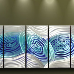 Matthew's Art Gallery - Metal Wall Art Abstract Sculpture White Blue Space Travel - Name: Space Travel