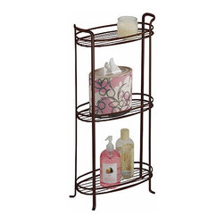 3-Tier Bathroom Shelf - Bronze - This striking Three Tiered Bath Storage Tower provides a great way to create additional convenient storage and organization for tissues, toiletries, and other accessories in the bathroom. This decorative bath shelf features sturdy metal construction and includes four rubber leg caps to protect floors from scratches and damage. Great for for keeping lotions and oils within arms reach near the tub, having a stack of hand towels and washcloths handy near the vanity, this bath shelf shelf unit looks great with it's classic bronze finish.
